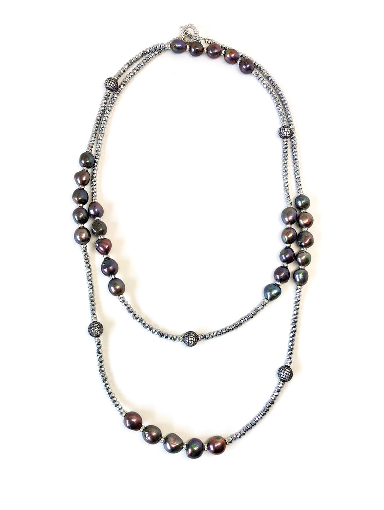 Long Silver Hematite Necklace with Black Pearls & Pave Balls