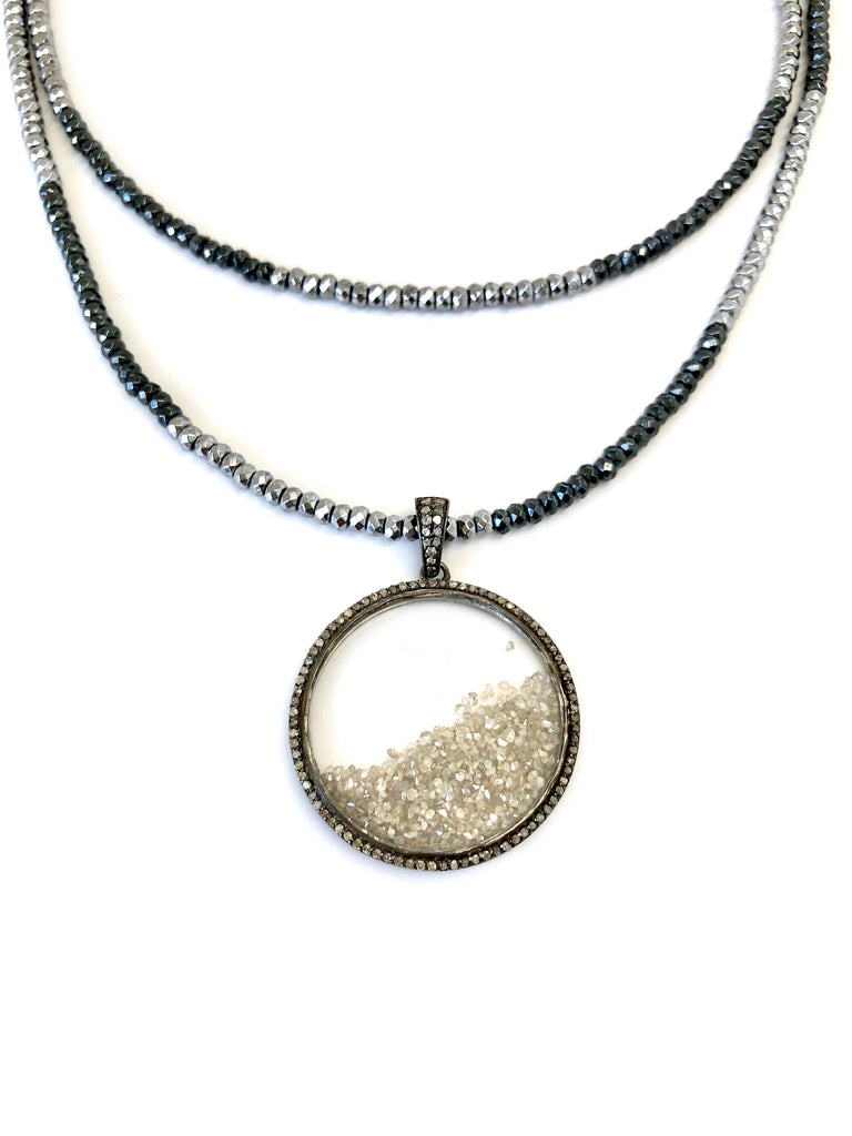 Loose Diamond Circle Pendant on Hematite Necklace