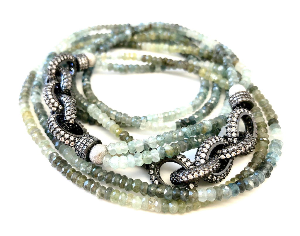 Moss Green Aquamarine Pave Chain Link Necklace
