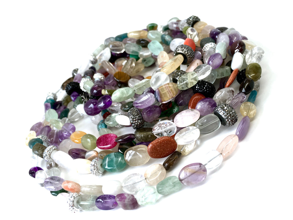 Lori Rainbow Stone Opera Necklace