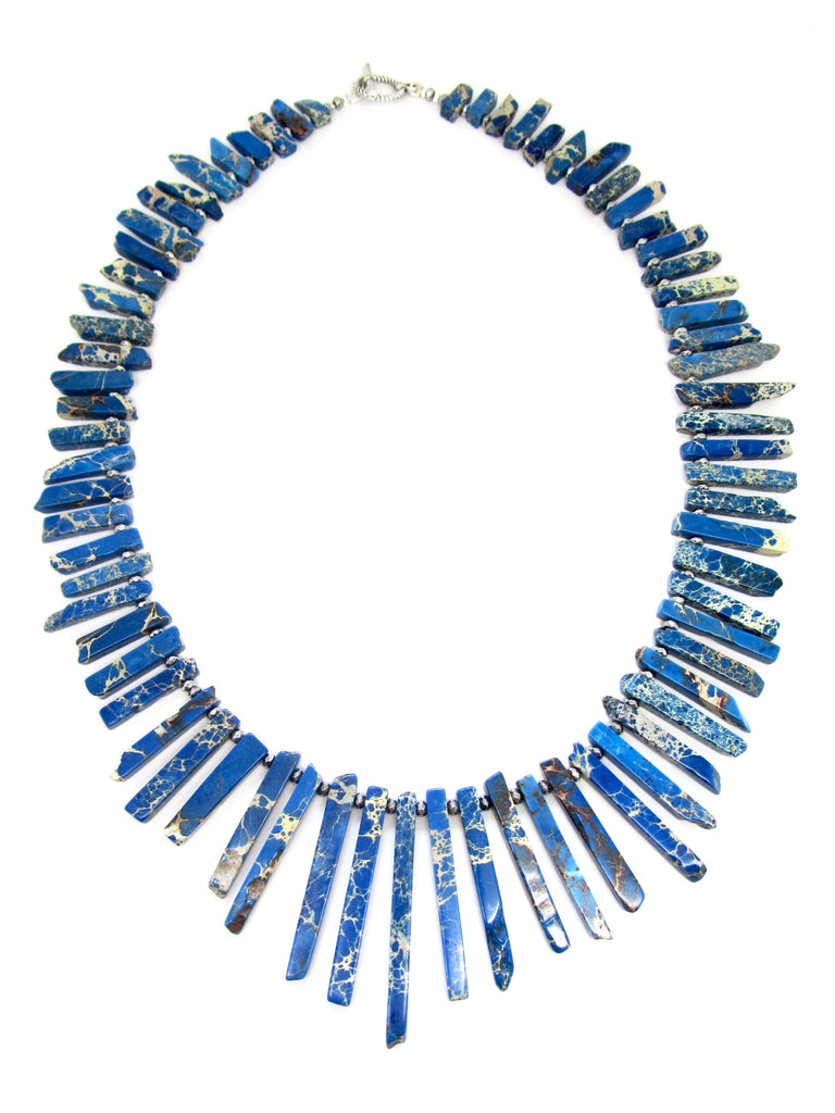 Mottled Royal Blue Skinny Howlite Stick Necklace