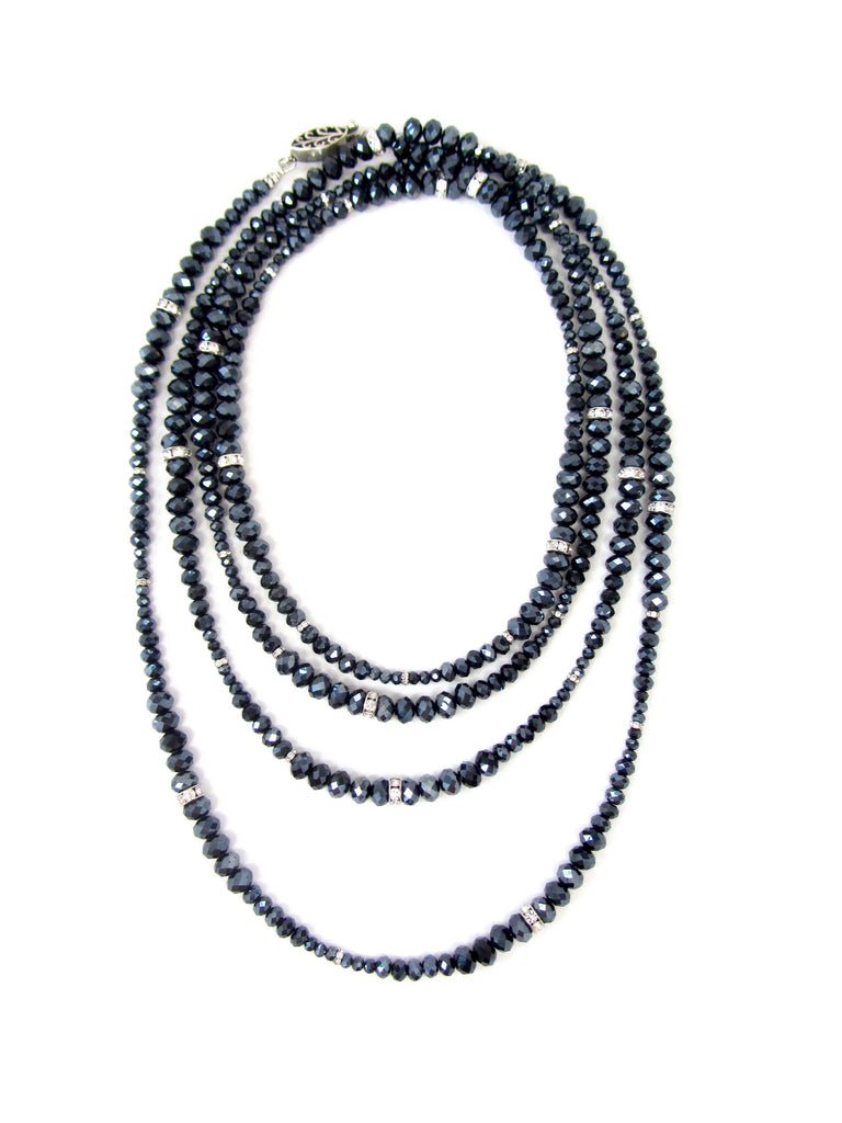 Lori Navy Iridescent Rondelle Opera Necklace