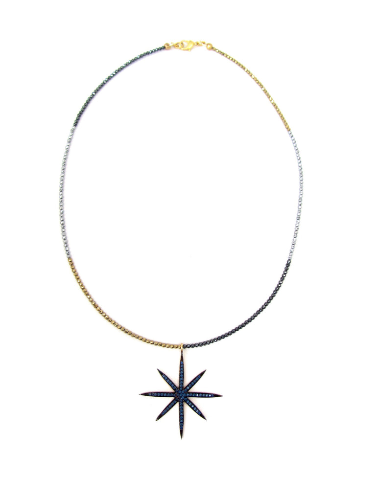 Large Sapphire 8-Point Star Pendant on Tricolor Hematite Necklace