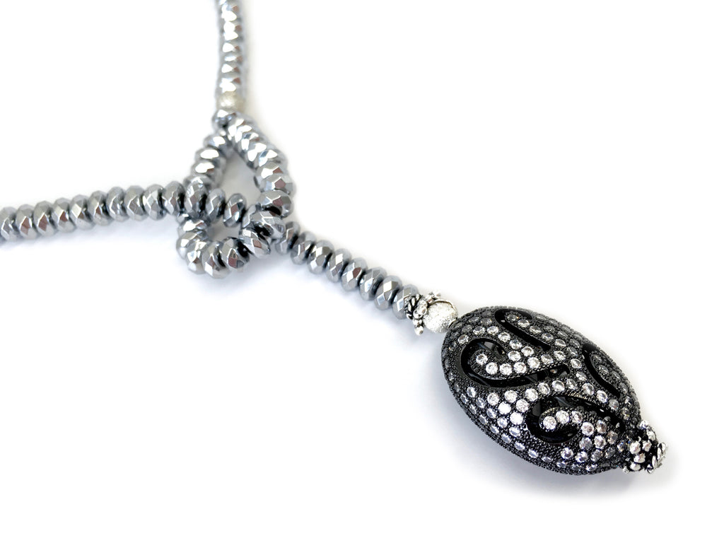 Silver Hematite with Pave Filigree Oval Drop Necklace