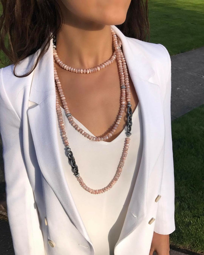 Peach Moonstone Necklace with Pave Link Chain