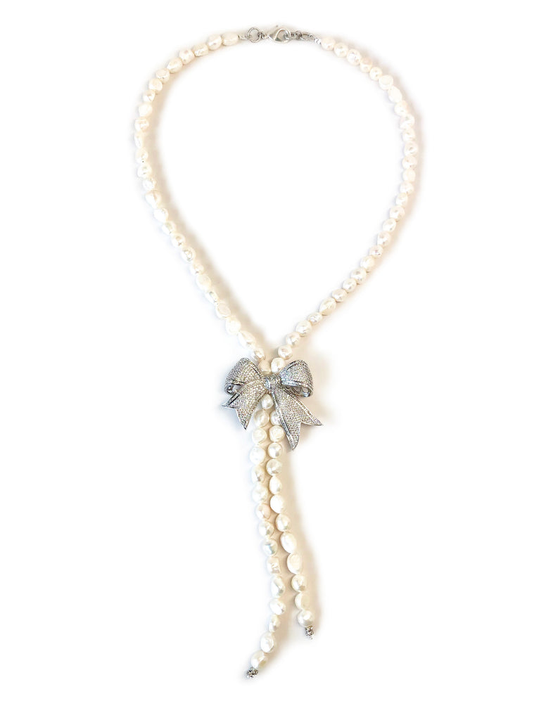 Pearl Necklace with Large Silver Pave Bow