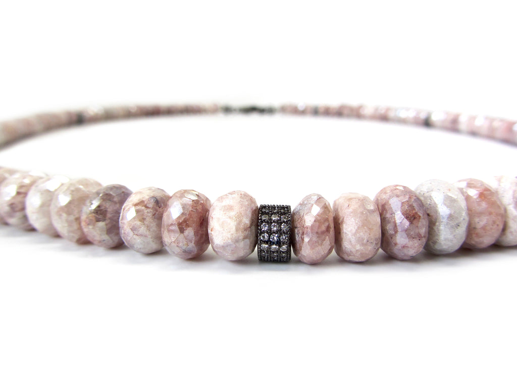 Pink Moonstone Necklace with White Sapphire Spacers & Clasp