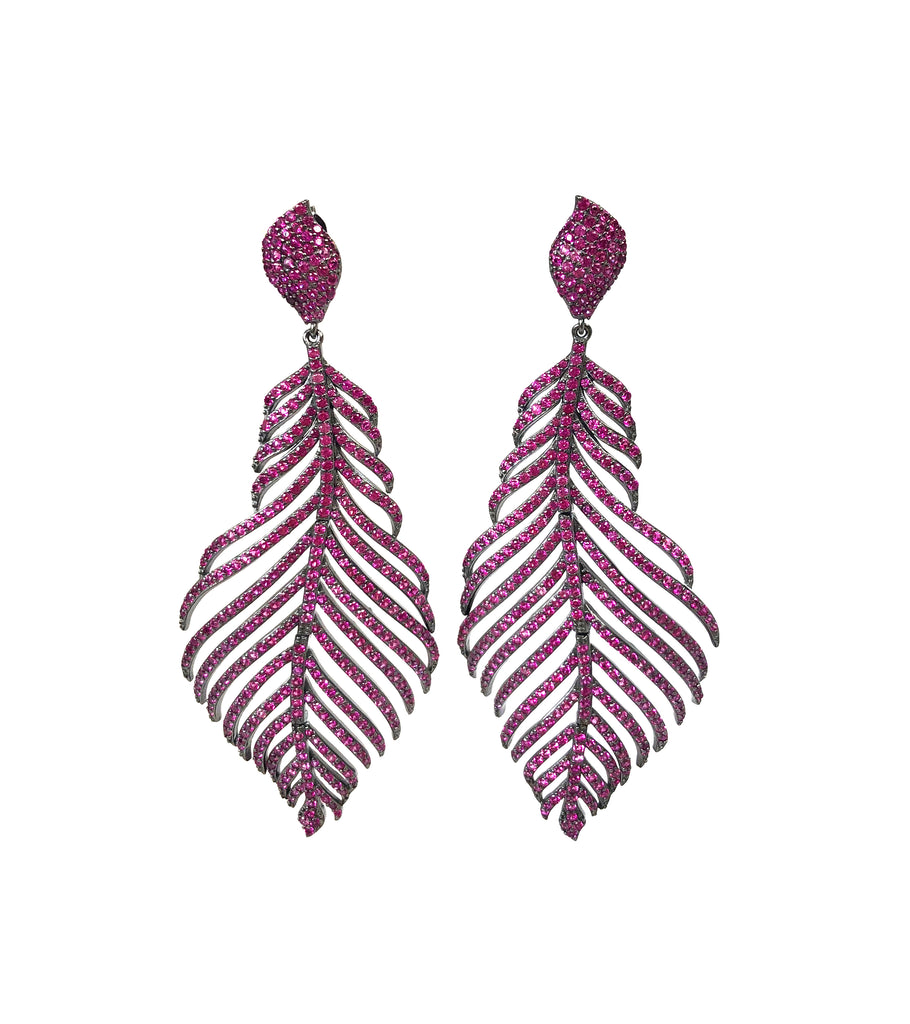 Large Pave Feather Earrings