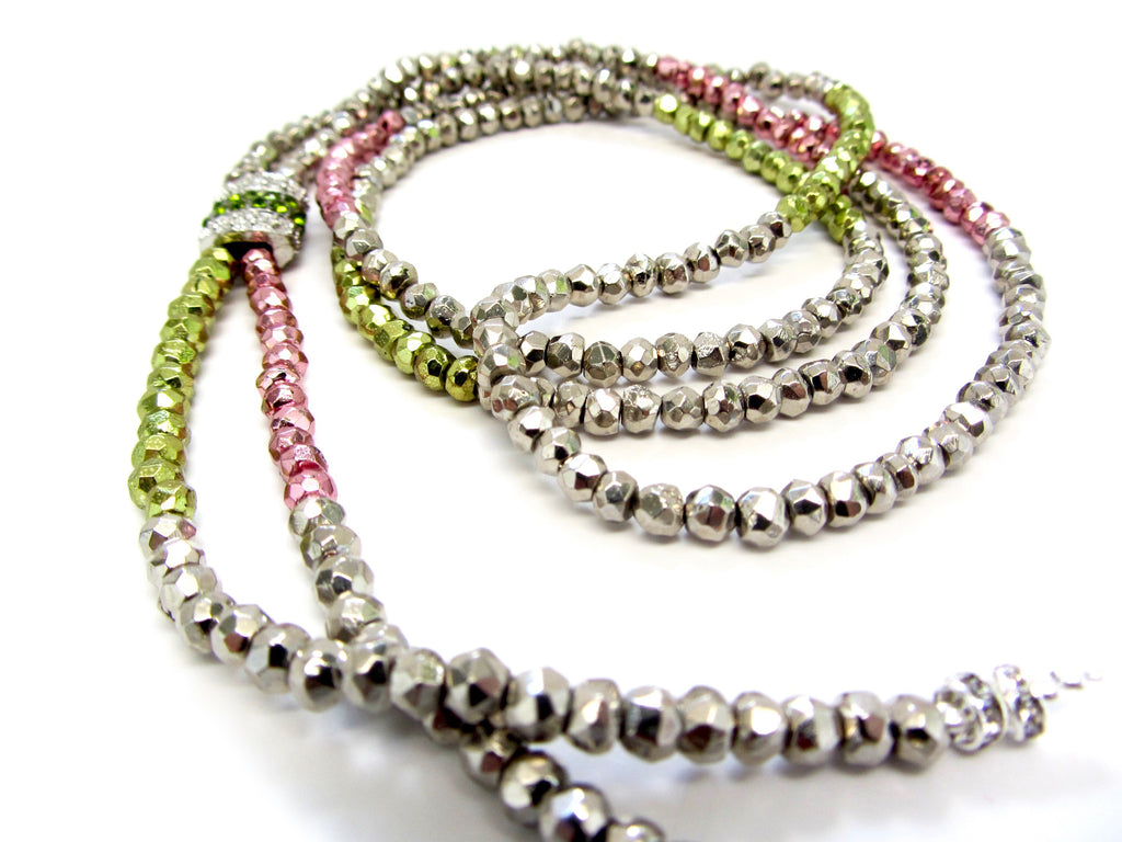 DASH Short Susan Silver, Pink, & Green Pyrite Necklace