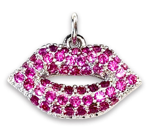 Pink Pave Lips Charm Necklace