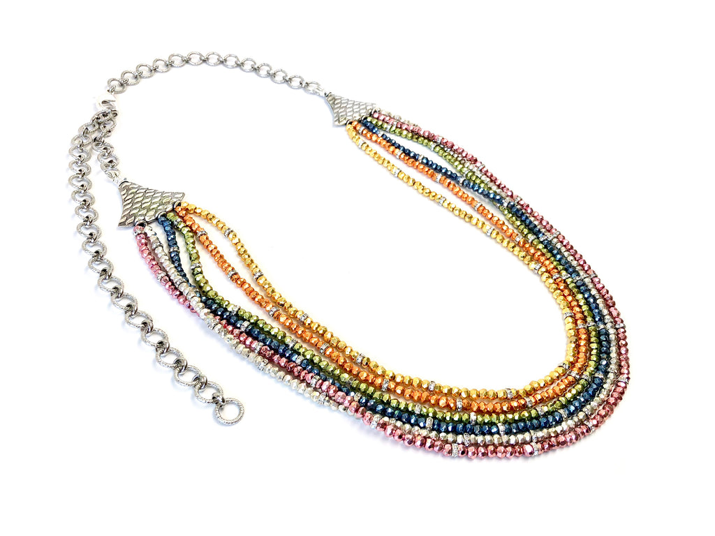 6-Strand Rainbow Pyrite Necklace
