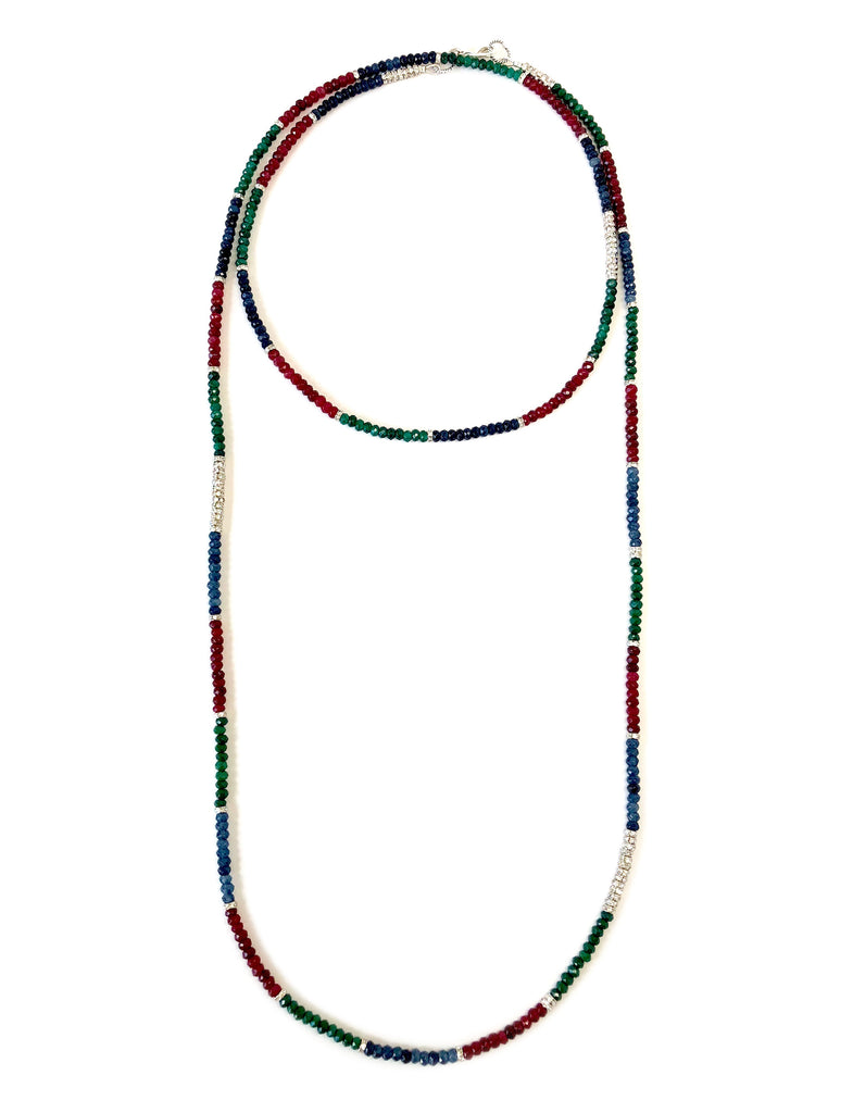 Red, Blue & Green Apatite Dash Necklace