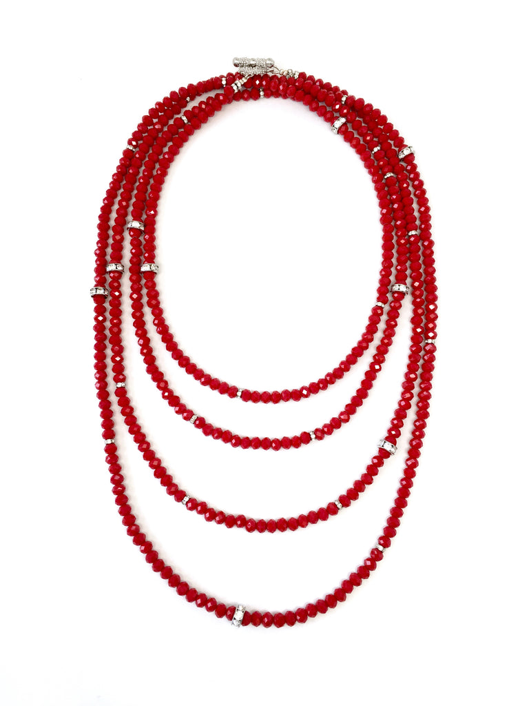 Lori Red Shining Rondelle Opera Necklace