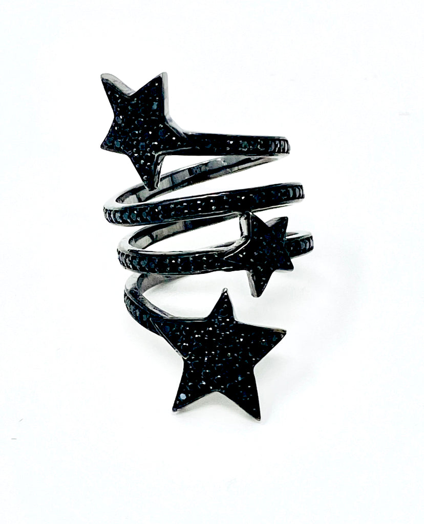 Black Spinel Star Ring