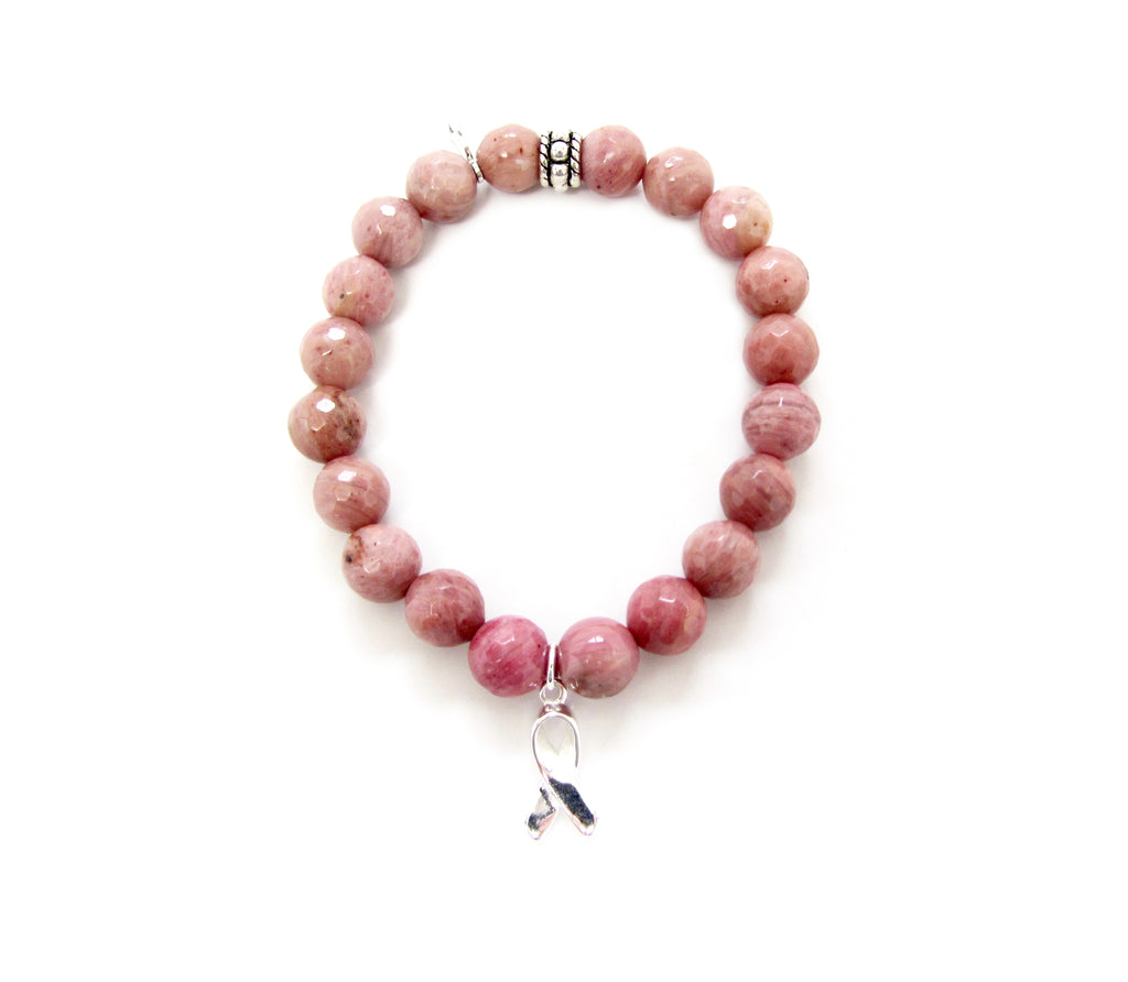 Breast Cancer Awareness Rhodonite Ribbon Charm Bracelet