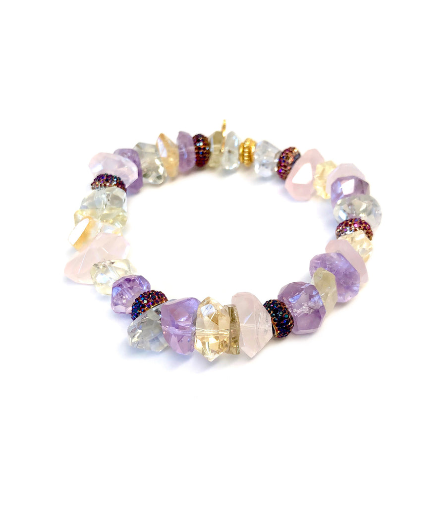 Rose Quartz, Amethyst, Citron & Quartz Chunks Bracelet