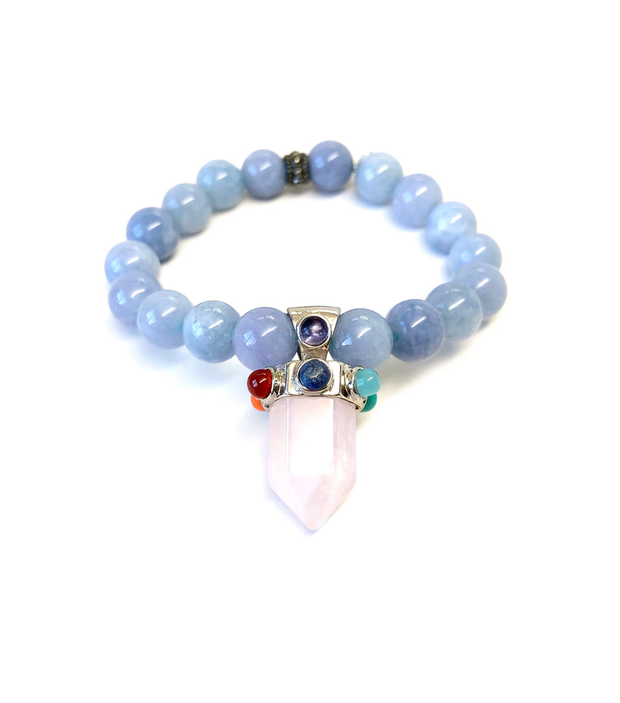 Quartz Crystal with Colored Gems on Beaded Bracelet