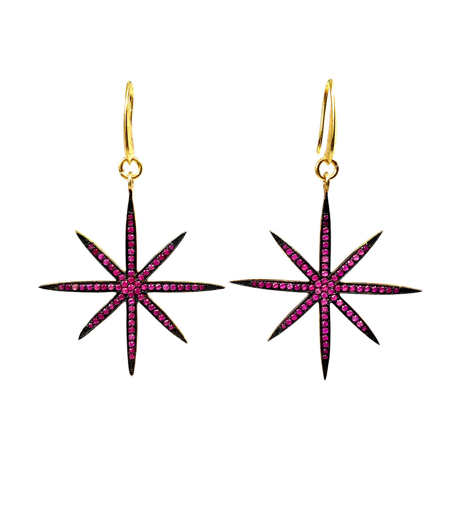 Ruby 8-Point Star Earrings