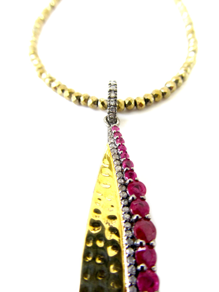 Ruby & Diamond Gold Leaf Pendant