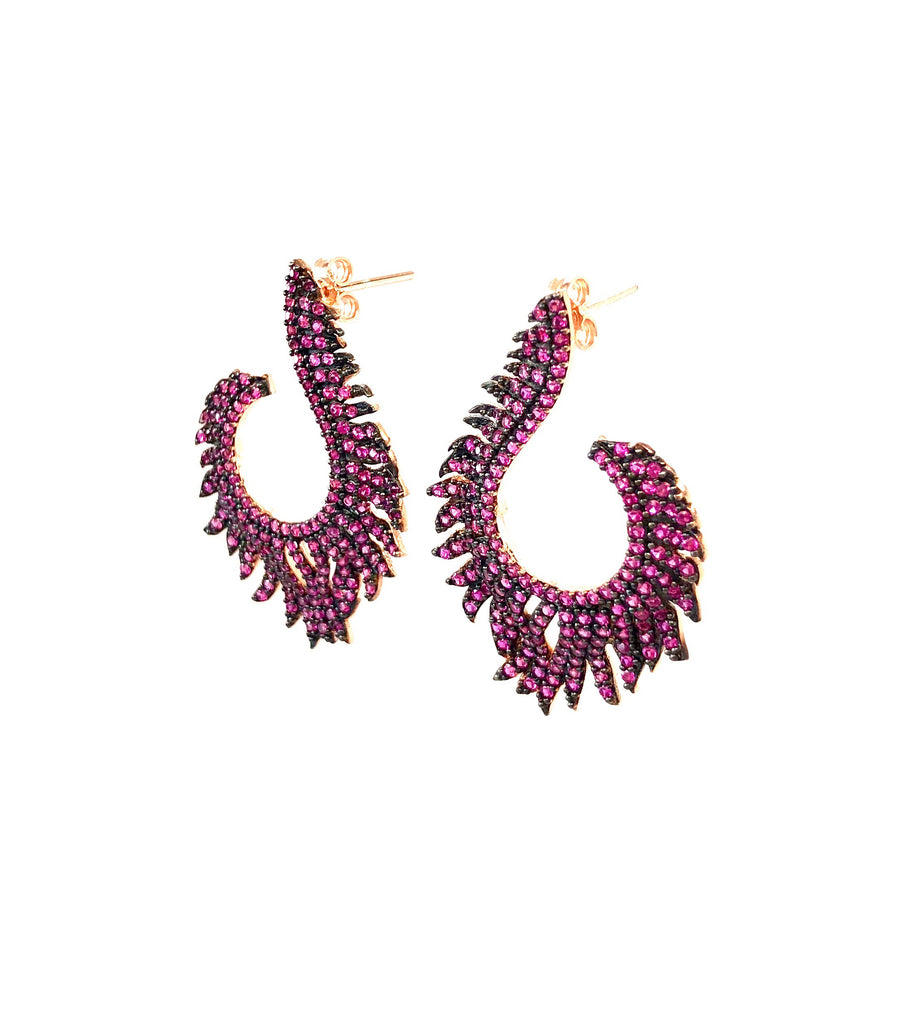 Ruby Spinel Flame Earrings