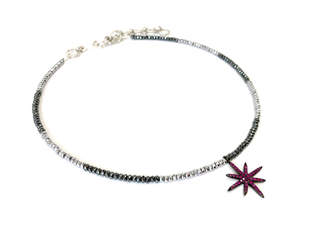 Mini Ruby 8-Point Star Charm on Silver & Gunmetal Hematite Necklace