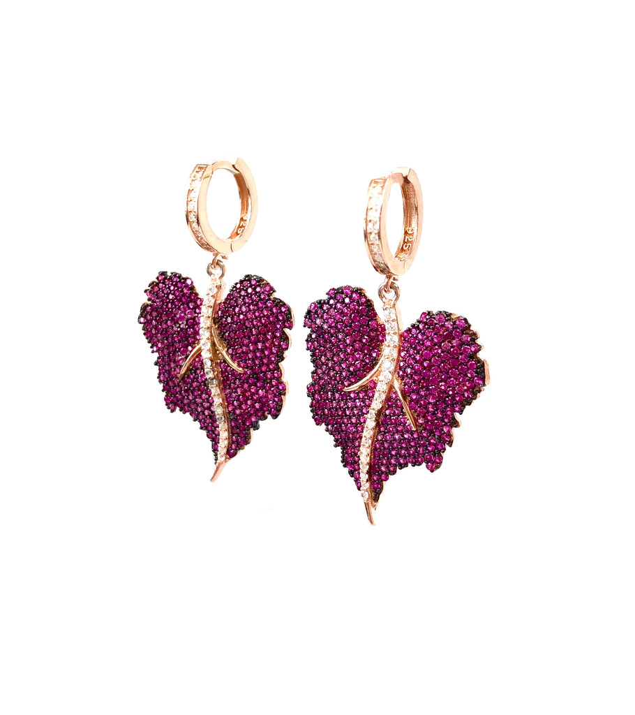 Ruby Spinel Leaf Earrings