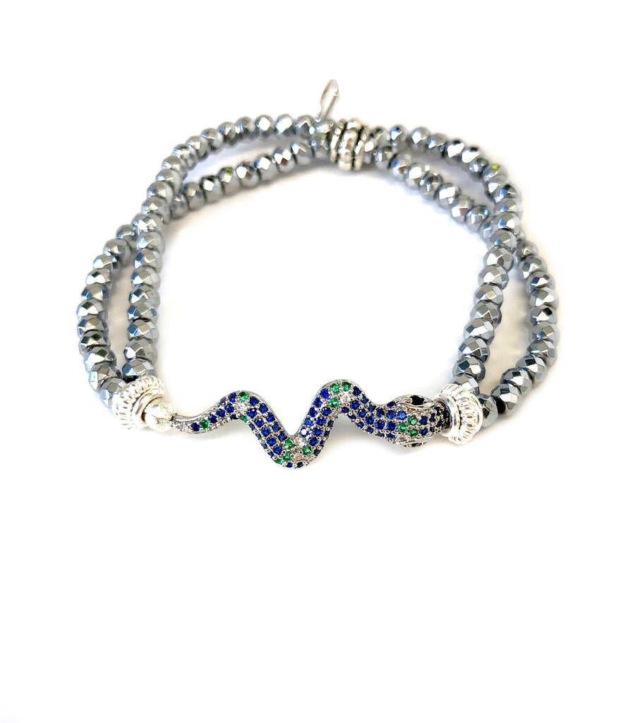Blue & Green Snake Charm on Double Strand Hematite Bracelet