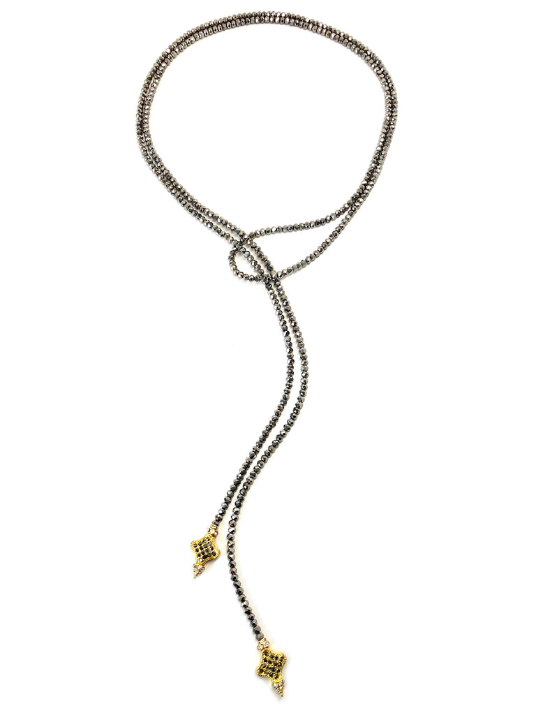 Silver Glass Lariat with Gold Clover Ends
