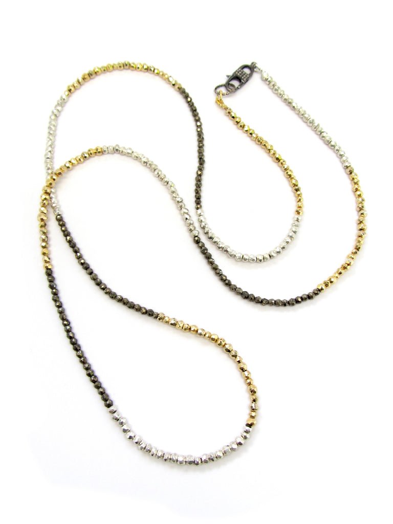 DASH Silver, Gold, & Brown Pyrite Necklace