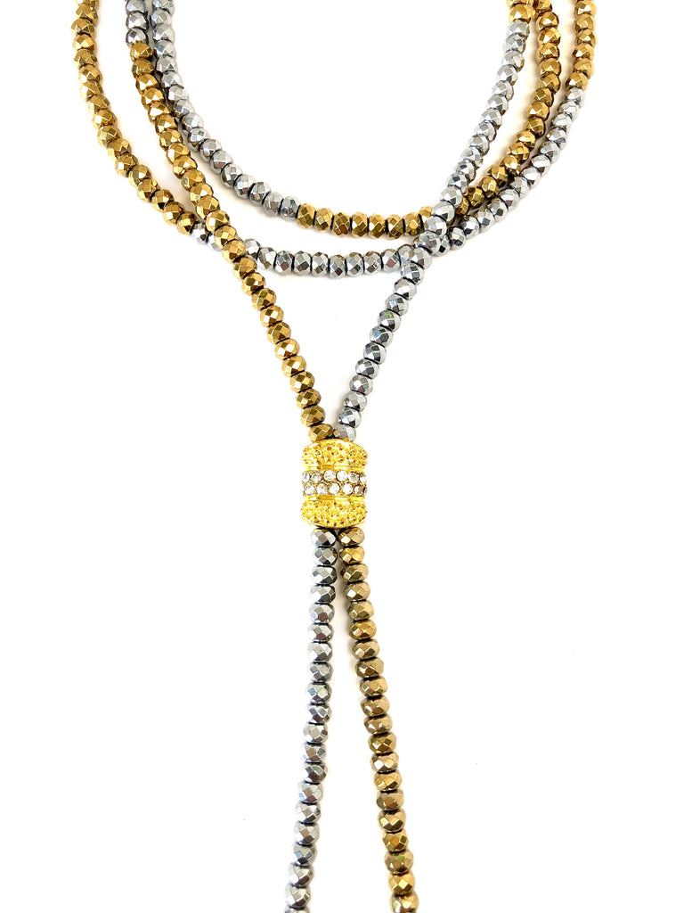 Silver & Gold Dash Short Susan Single Strand Necklace