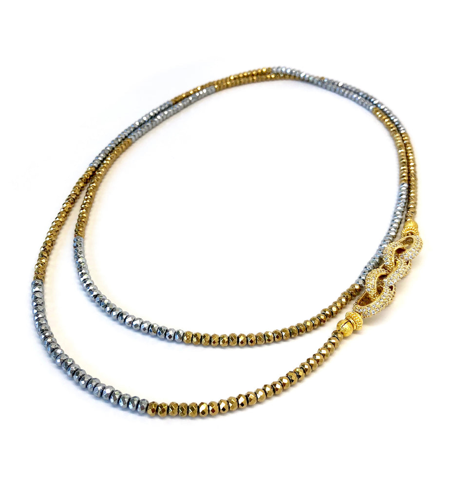 Silver & Gold Dash Hematite Pave Link Necklace
