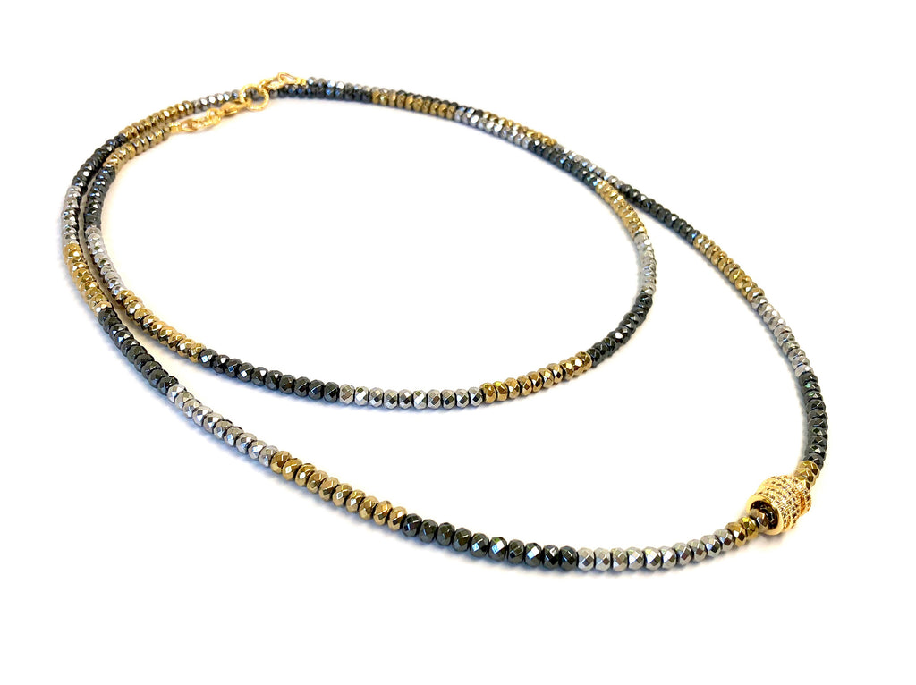 Silver, Gold & Gunmetal Hematite Dash Necklace