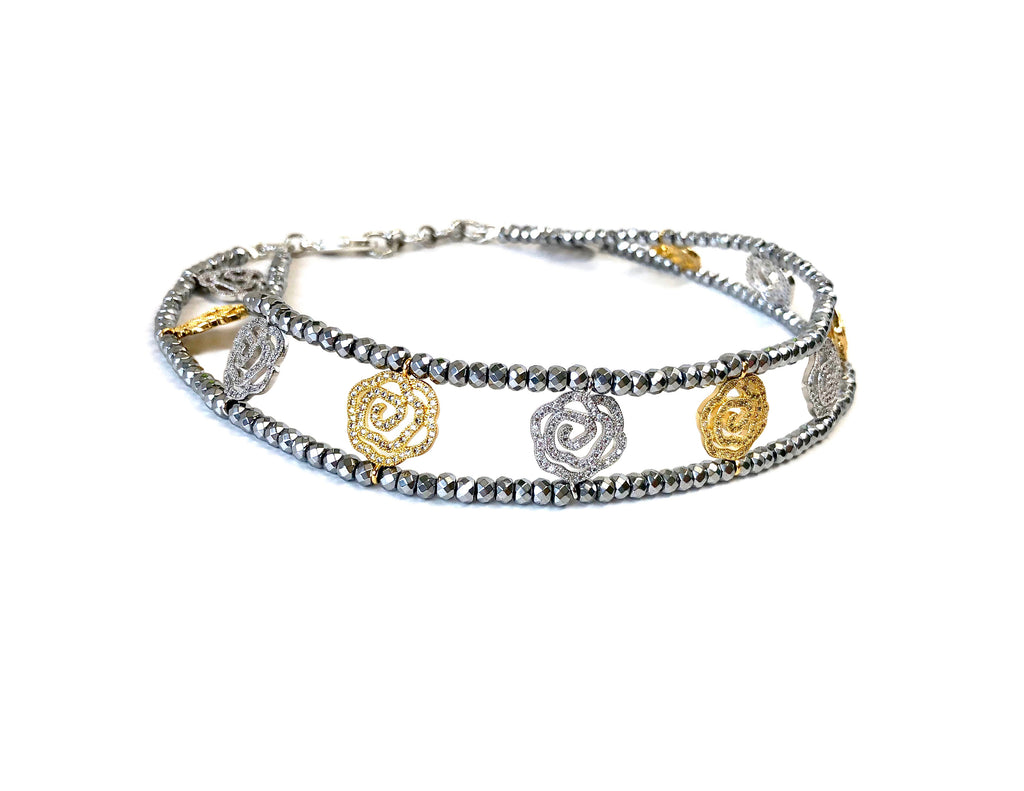 Silver & Gold Rose Charm Cuff Necklace