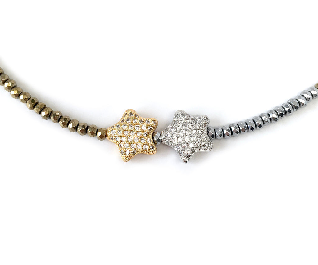 Gold & Silver Double Star Charm Necklace