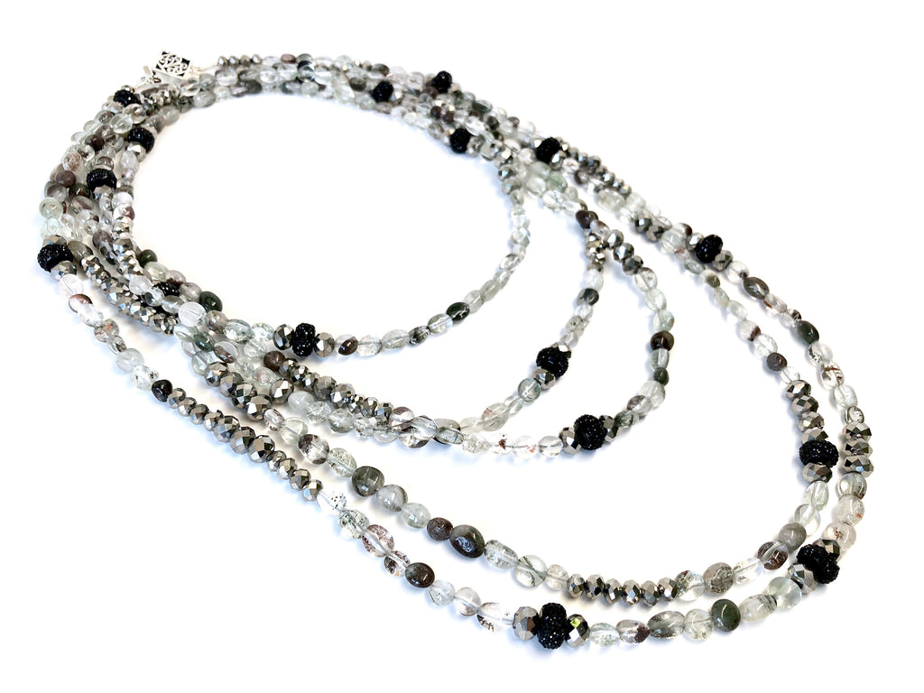 Silver, Clear & Smoke Quartz Opera Necklace