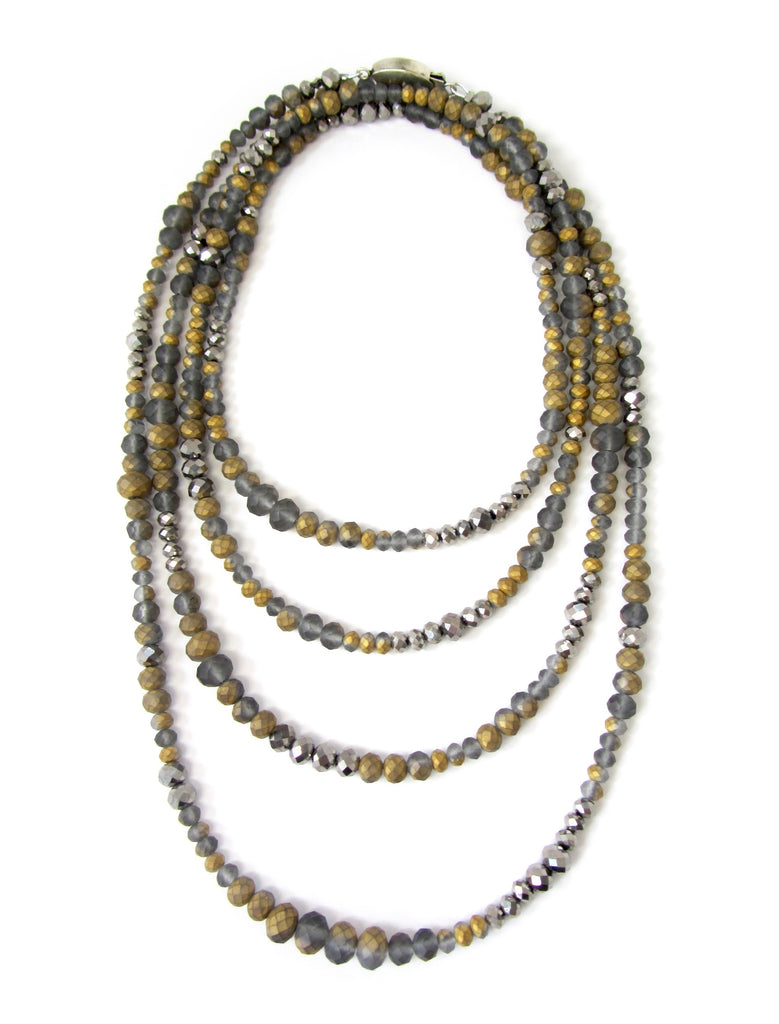 Lori Gray & Gold Shine Rondelle Opera Necklace
