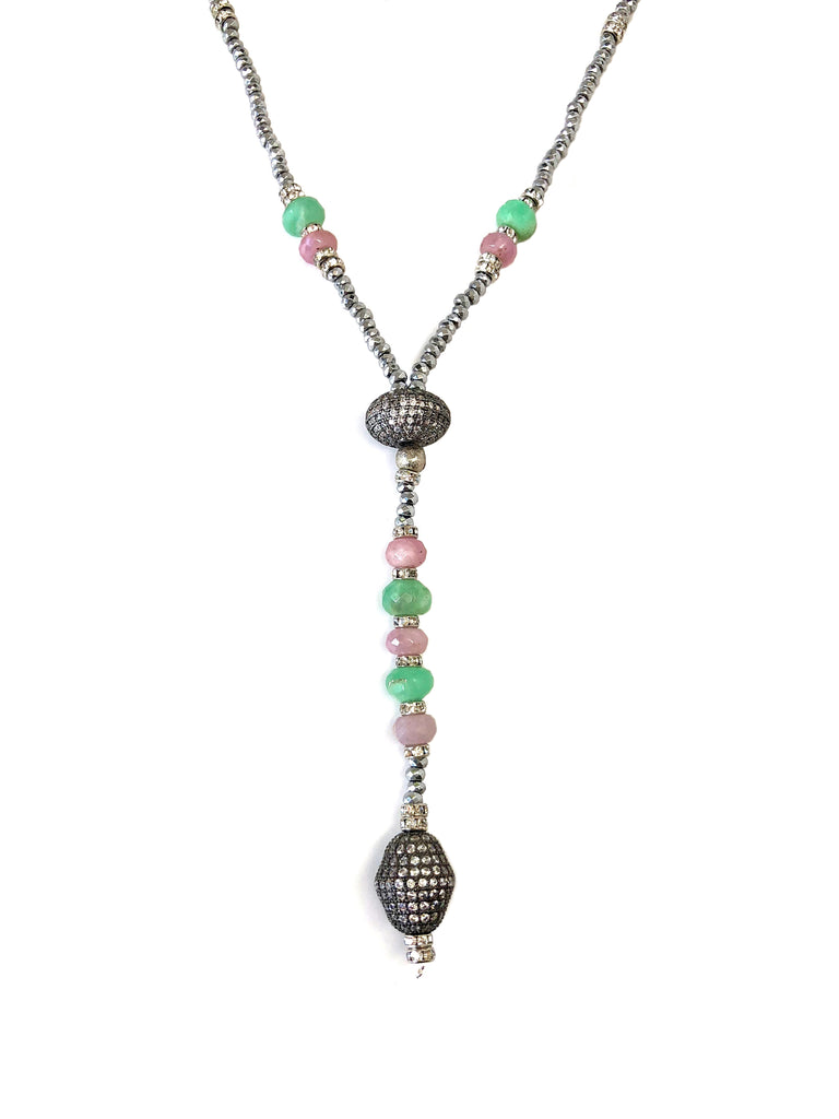 Victoria Silver Hematite, Chrysoprase & Pave Ball Necklace