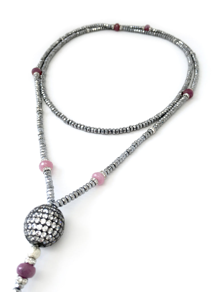 Victoria Silver Hematite, Pink Sapphire & Pave Ball Necklace