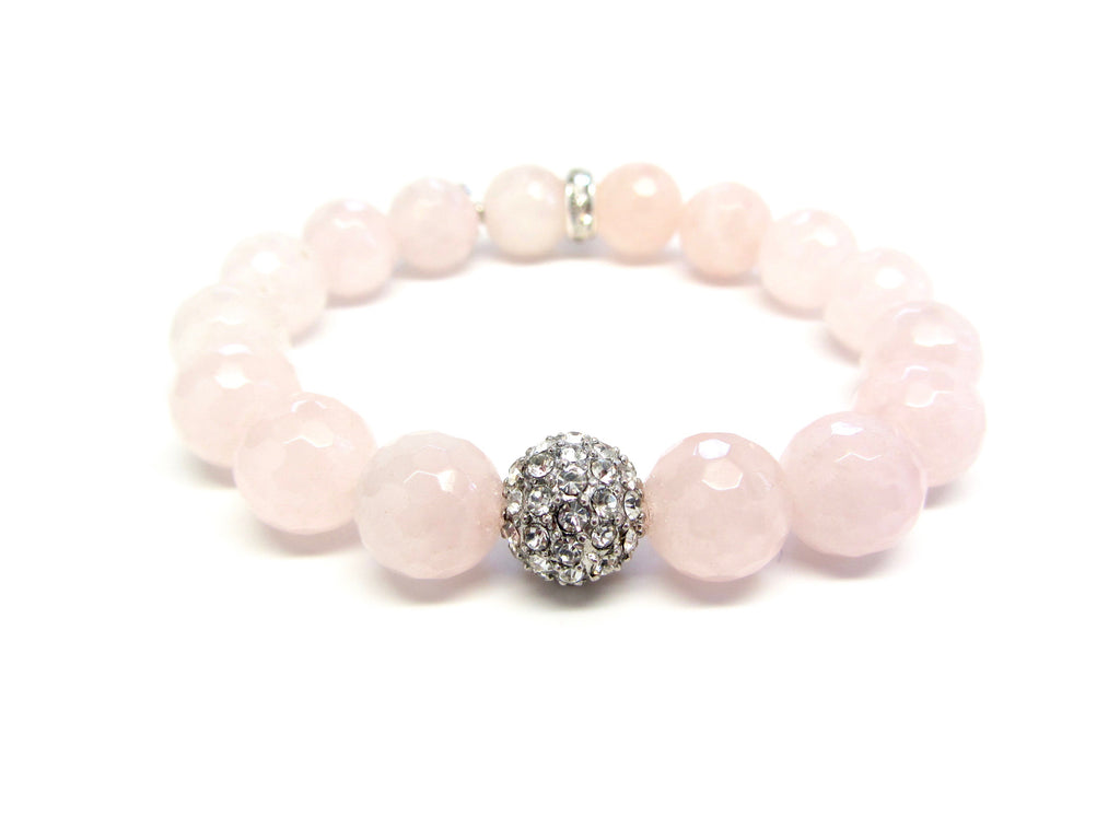 Rose Quartz Bracelet with Pave Ball Charm