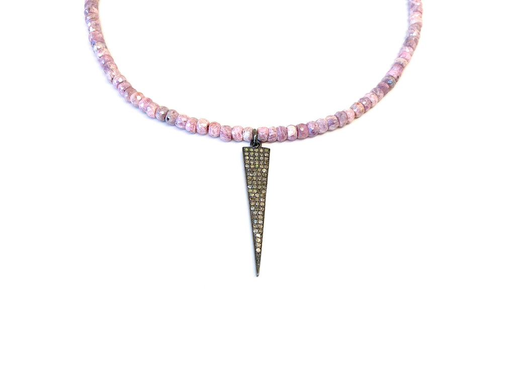 Small Diamond Dagger on Pastel Pink Silverite Necklace