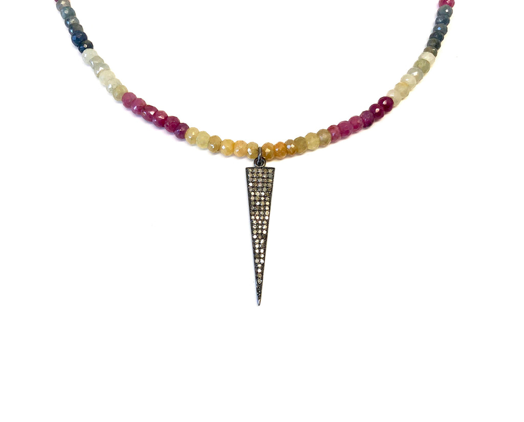 Small Diamond Dagger on Rainbow Sapphire Necklace