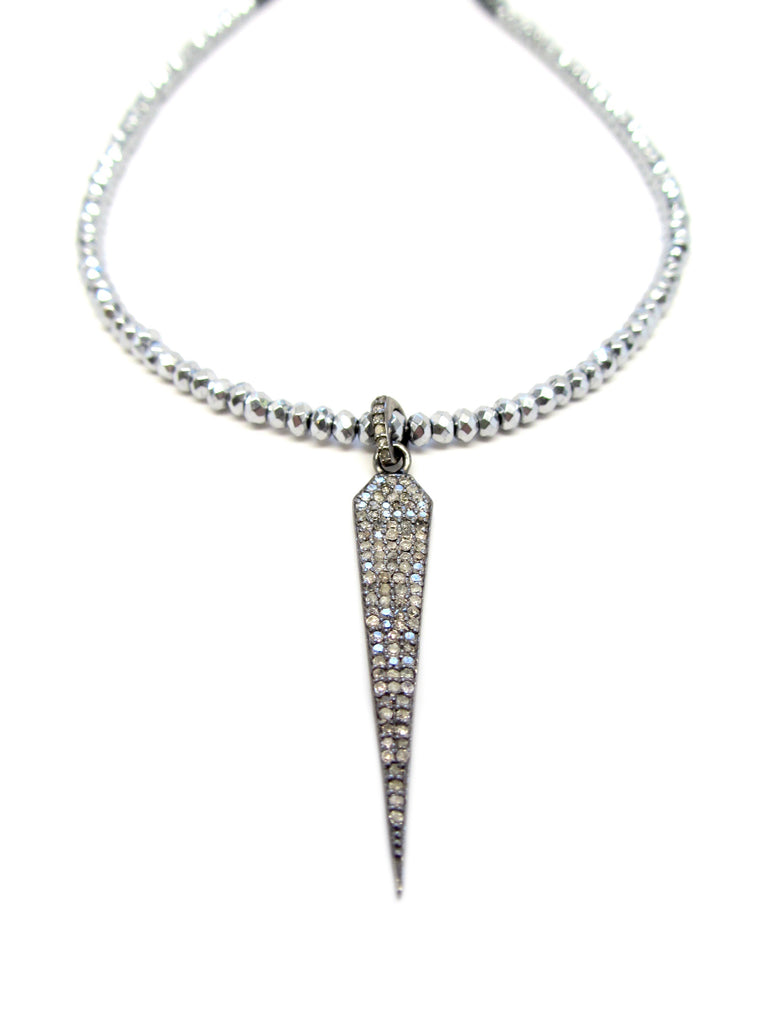 Small Diamond Dagger Pendant on Silver & Gunmetal Hematite Necklace