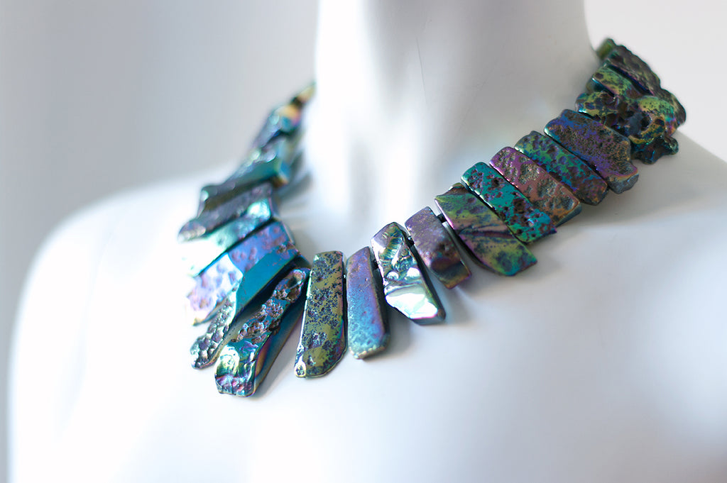 Stacey Iridescent Stick Necklace