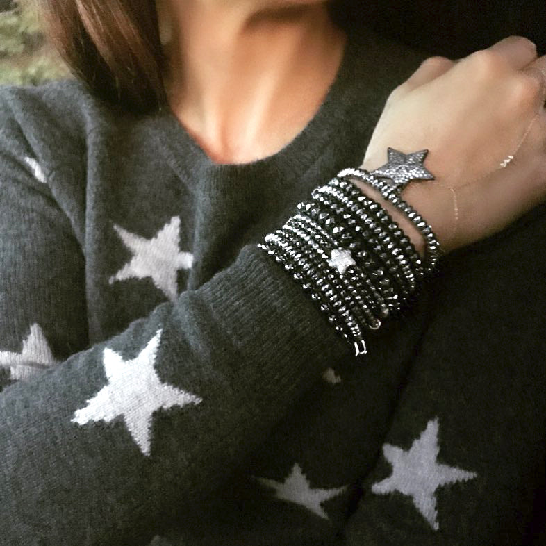 Shooting Star Silver & Gunmetal Hematite Stack