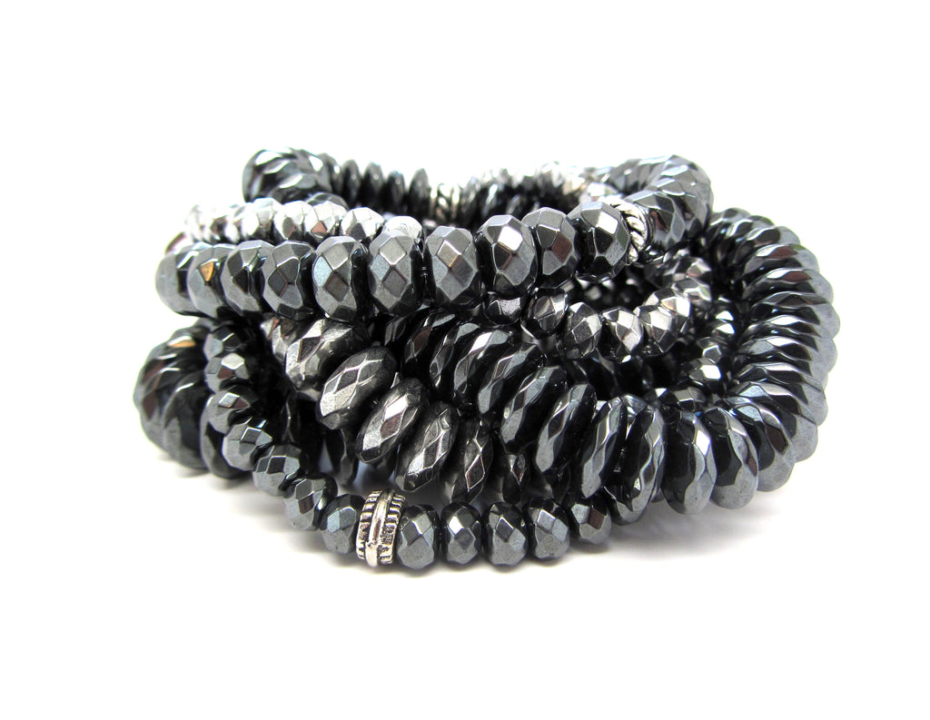 Silver & Gunmetal Hematite Super Stack of 6