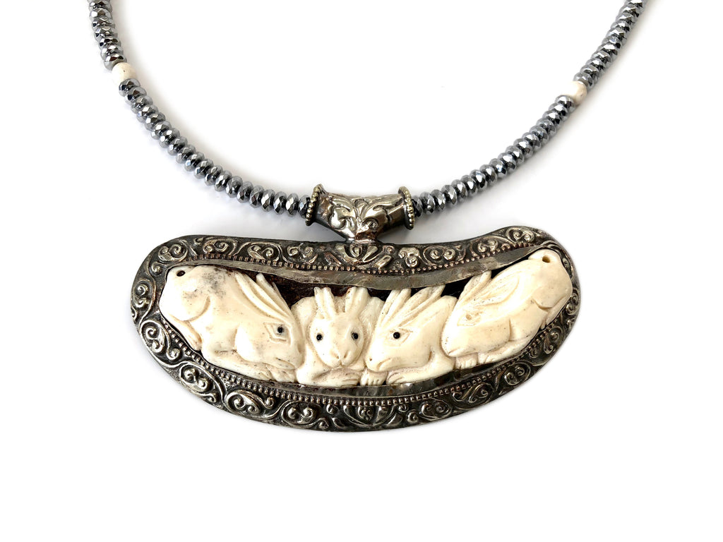Tibetan Silver & Buffalo Bone Carved Pendants
