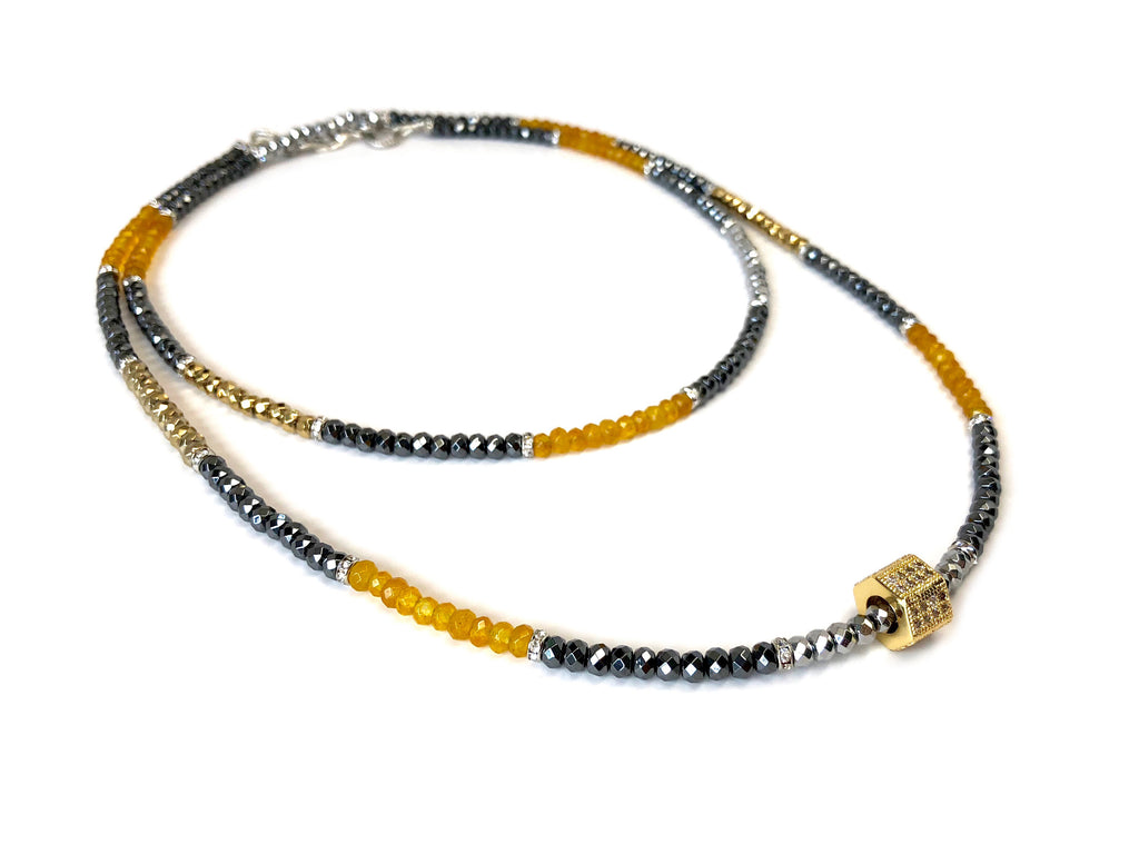Tri-Color Hematite & Honey Apatite Dash Necklace