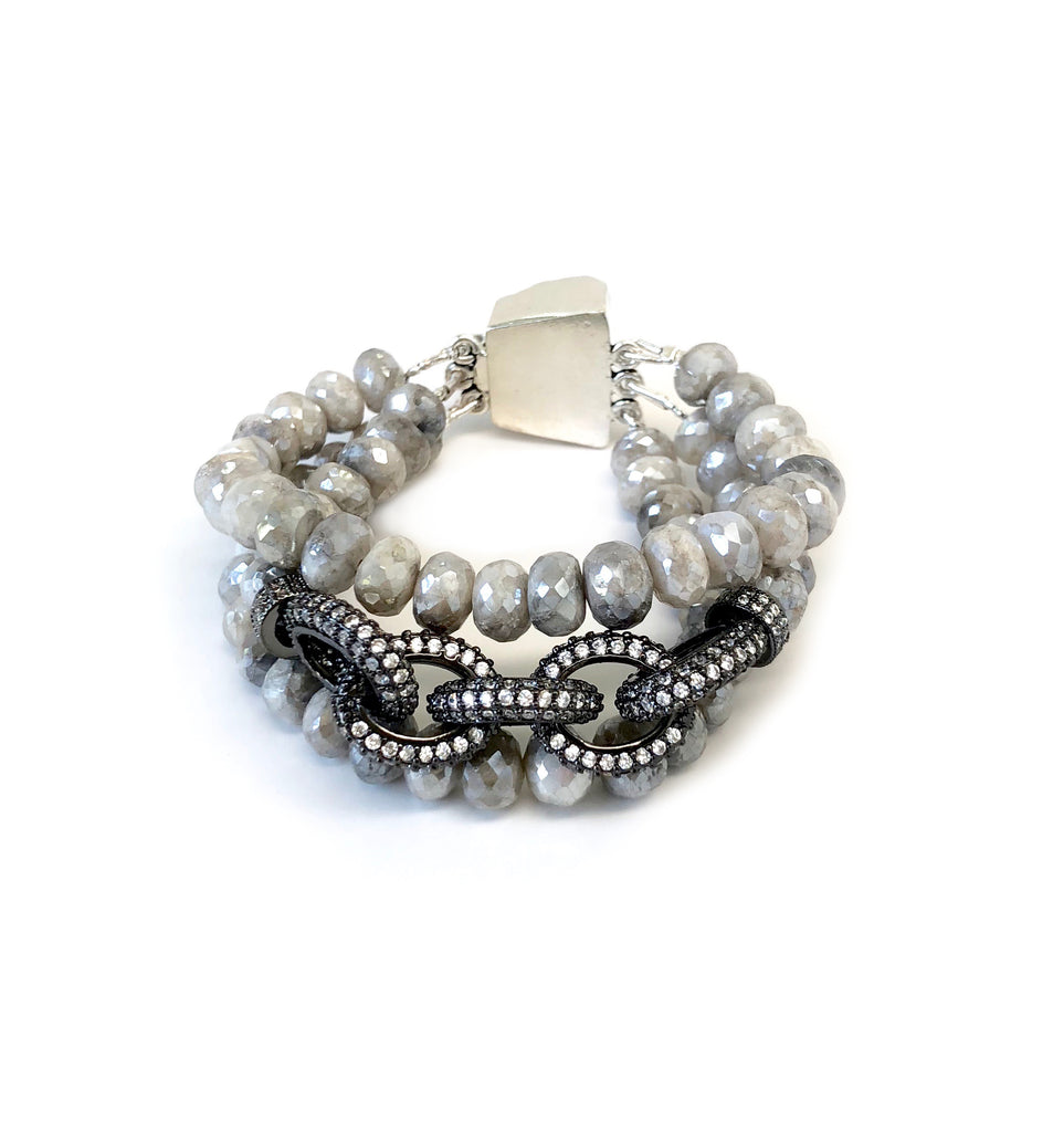 Triple Strand Grey Moonstone Chain Link Bracelet