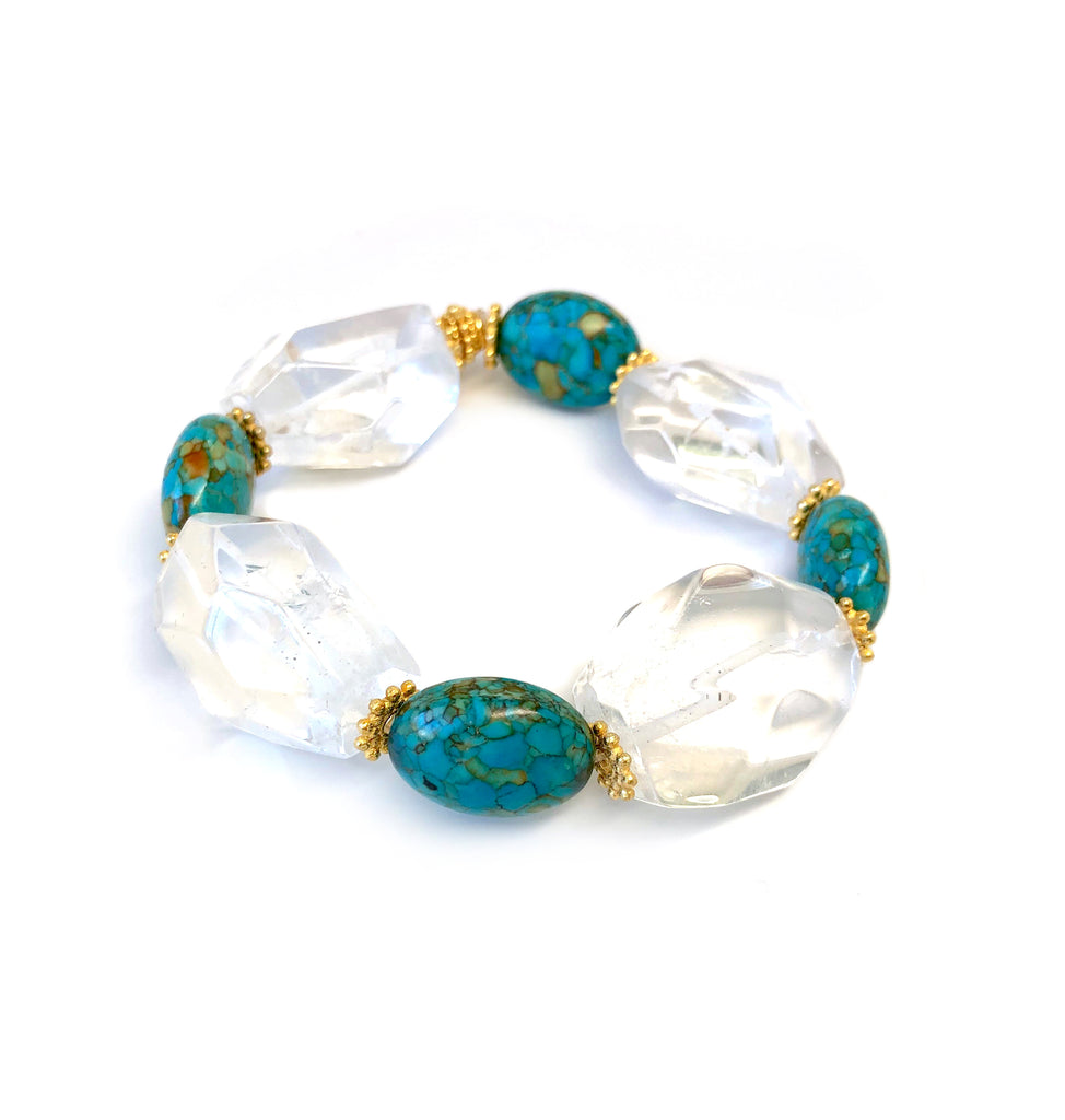 Turquoise & Clear Quartz Bracelet with Gold Spacers