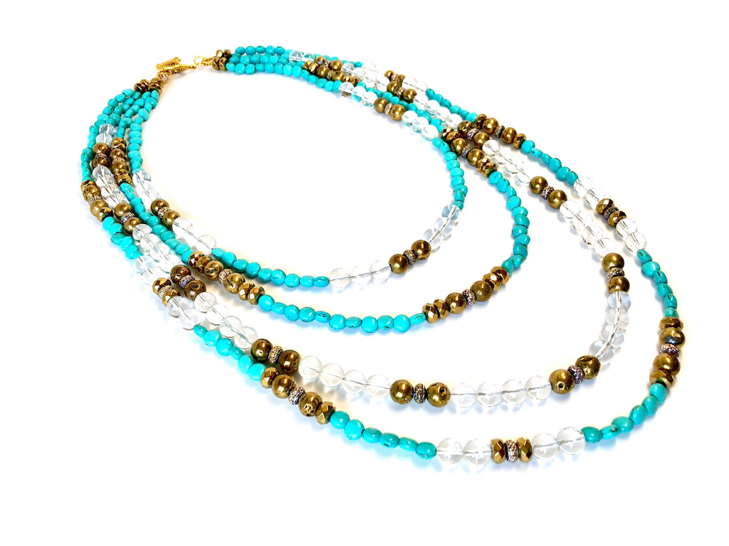 Turquoise, Gold Hematite & Clear Crystal 4-Strand Necklace